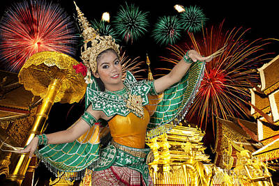 Golden Pagoda At Doi Suthap In Chiangmai With Fire Work Poster by Anek Suwannaphoom