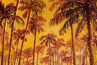 Poster featuring the painting Golden Palm Trees by Lou Ann Bagnall