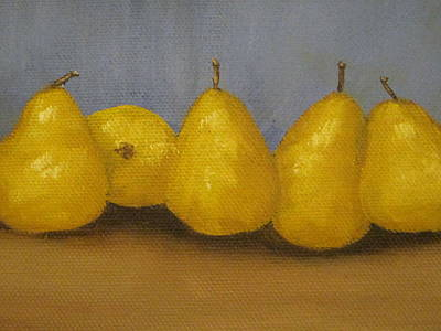 Golden Pears With Blue Poster