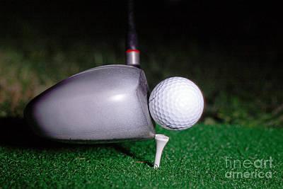 Golf Club Hitting Ball Poster