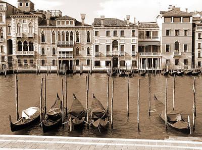 Gondolas Outside Salute Poster