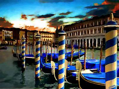 Gondolas Under A Summer Sunset Poster by Jann Paxton