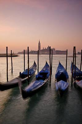 Gondolas With View Of San Giorgio Poster