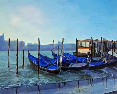 Gondolier Dock Venice Italy Poster