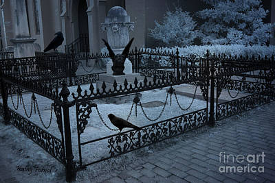Gothic Surreal Night Gargoyle And Ravens - Moonlit Cemetery With Gargoyles Ravens Poster by Kathy Fornal