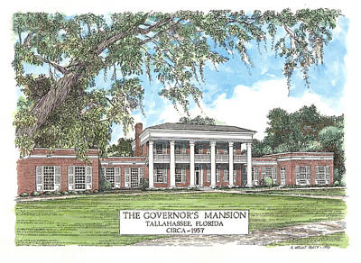 Governors Mansion Tallahassee Florida Poster by Audrey Peaty