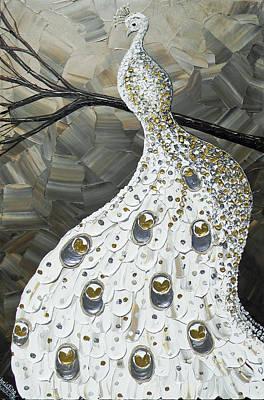 Graceful Elegance White Peacock Poster by Christine Krainock