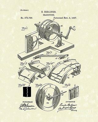 Gramophone 1887 Patent Art Poster by Prior Art Design