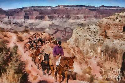 Grand Canyon Mule Packtrain Poster by Mary Warner
