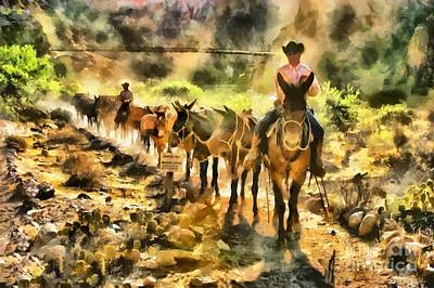 Grand Canyon Mules At The River Poster by Mary Warner