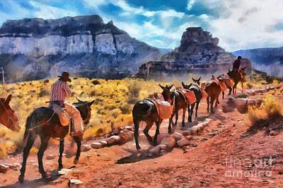 Grand Canyon Mules Heading Up The South Kaibab Trail Poster by Mary Warner