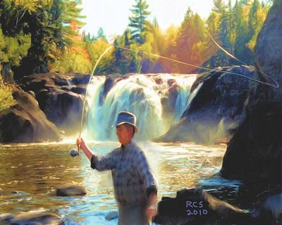 Poster featuring the digital art Grand Falls In Maine by Richard Stevens