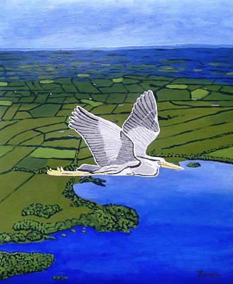 Gray Heron Flying Over Lough Sheelin Poster by Eamon Reilly