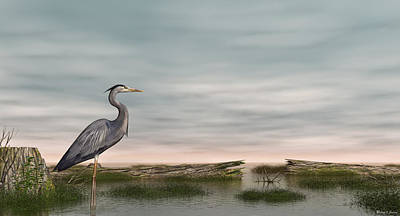 Poster featuring the digital art Great Blue Heron by Walter Colvin
