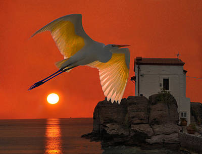 Poster featuring the mixed media Great Egret Sunset In Skala by Eric Kempson