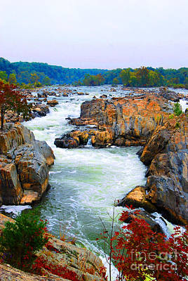Great Falls On The Potomac River In Virginia Poster by Eva Kaufman