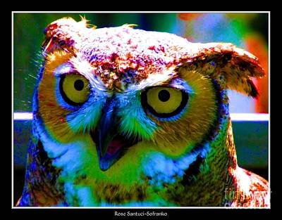 Great Horned Owl With Neon Effect Poster by Rose Santuci-Sofranko