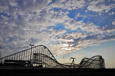 Great White Roller Coaster - Adventure Pier Wildwood Nj At Sunrise Poster by Bill Cannon