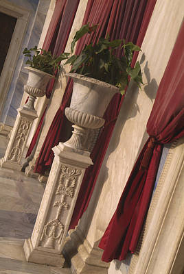 Greek Urns And Red Drapes At Entrance Poster