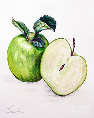 Green Apple Poster by Danuta Bennett