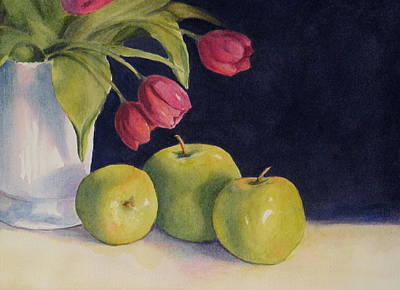 Poster featuring the painting Green Apples With Tulips by Vikki Bouffard