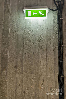 Green Backlit Exit Sign Poster by Noam Armonn