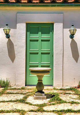 Green Door And Birdbath Poster