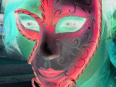 Green Girl With Red Mask Poster by Rdr Creative