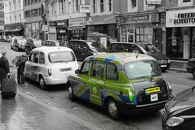 Green London Taxi Poster