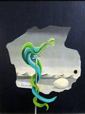 Green Rooster Call 2 In Surrealistic Frame Background Blue Tail Feathers Mountains Landscape And Egg Poster