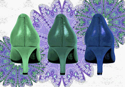 Green Shoes On Purple Lace Poster by Maralaina Holliday