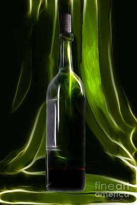 Green Wine Bottle Poster by Danuta Bennett