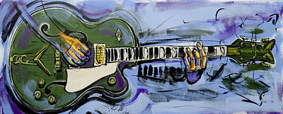 Poster featuring the painting Gretsch Guitar by John Gibbs