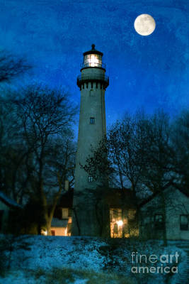 Grosse Point Lighthouse Before Dawn Poster by Jill Battaglia