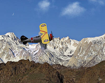 Grummon F3f Navy Fighter Over Mount Whitney Poster