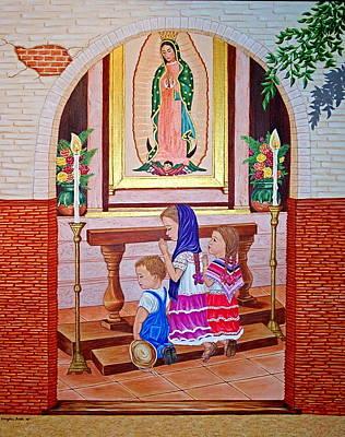 Guadalupe Y Ninos Poster by Evangelina Portillo
