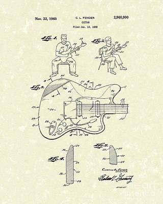 Guitar 1960 Patent Art Poster