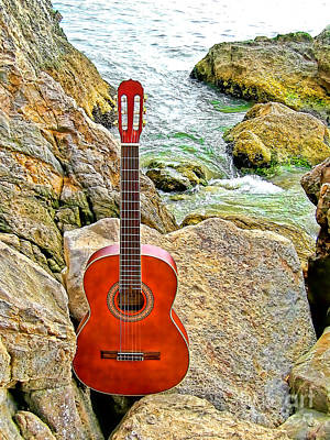 Guitar By The Sea Poster by Jason Abando