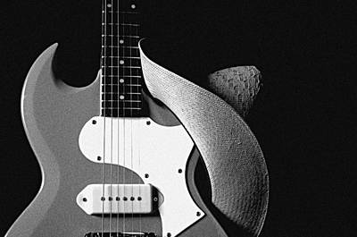 Guitar Hat Isolated On Black Poster by M K  Miller