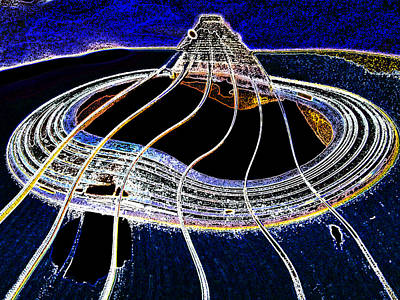Poster featuring the digital art Guitar Warp Glowing Edges by Anne Mott