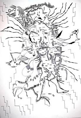 Poster featuring the drawing Gule Wamkulu - Malawi by Gloria Ssali
