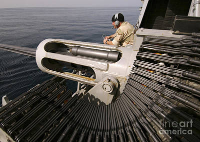 Gunner Manning A Mk-38 25mm Heavy Poster