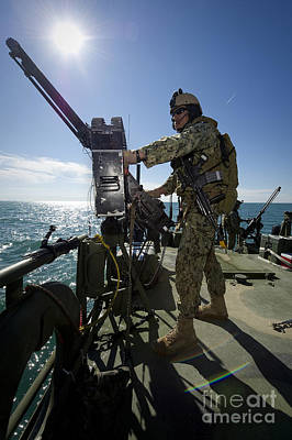 Gunner Mans A M240 Machine Gun Poster by Stocktrek Images