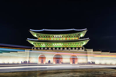 Gyeongbokgung Palace At Night Poster by I enjoy taking photos and traveling the world.