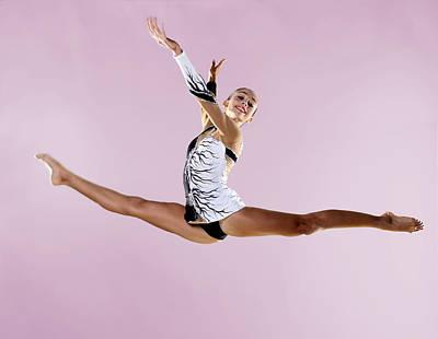 Gymnast, Split, Mid Air, Black And White Leotard Poster by Emma Innocenti