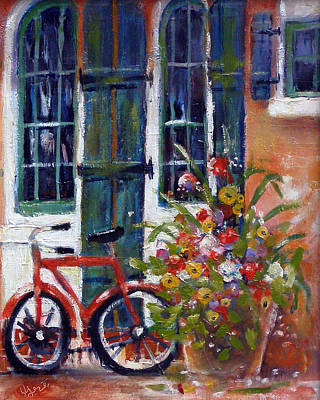 Poster featuring the painting Habersham Bike Shop by Gertrude Palmer