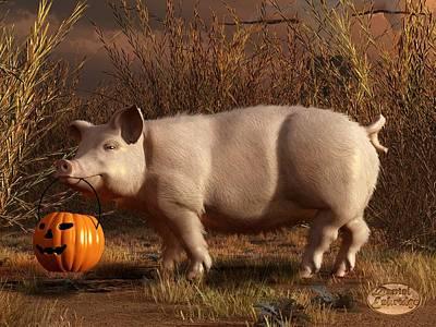 Halloween Pig Poster by Daniel Eskridge