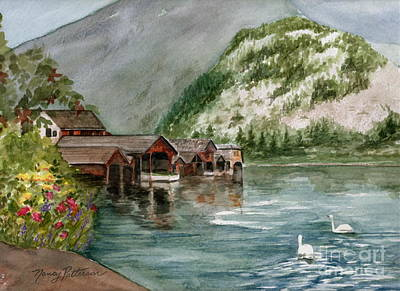Poster featuring the painting Hallstatt In The Spring  by Nancy Patterson