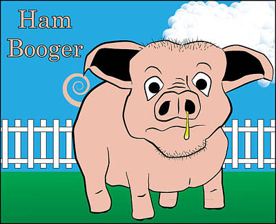 Poster featuring the digital art Ham Booger by John Crothers