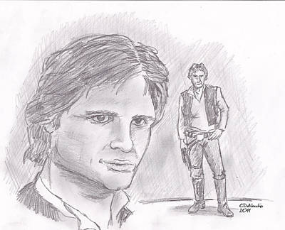Poster featuring the drawing Han Solo -space Pirate by Chris  DelVecchio